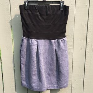 Sandro Paris Strapless Black/Blue Dress Size 2
